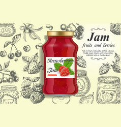 strawberry jam ads design template vector image