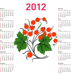 stylish calendar with flowers for 2012 week starts vector image