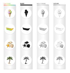 Summer rest cartoon black monochrome outline icons vector