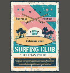 surfing club paradise adventure retro poster vector image