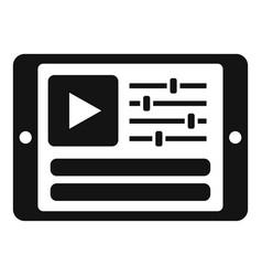 Tablet video edit icon simple film editor vector