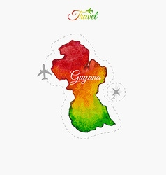 Travel around the world Guyana Watercolor map vector