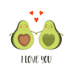 Valentines card with cute couple avocado vector