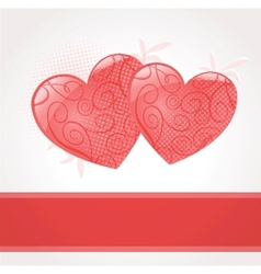 Valentines cards with two hearts and place for vector image