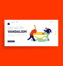 Vandalism violence and teen aggression landing vector