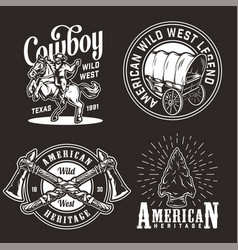 Vintage wild west emblems set vector