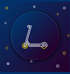 White and yellow line scooter icon isolated on vector