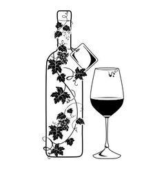 Wine bottle with vine vector image