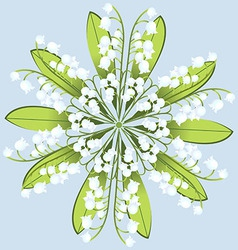 Wreath of flowers of Lily on a blue background vector