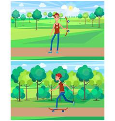young male skateboarding green park at summertime vector image