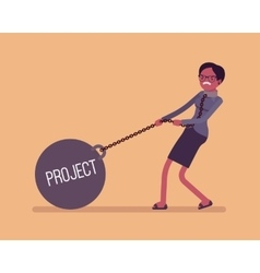 Businesswoman dragging a weight Project on chain vector image vector image