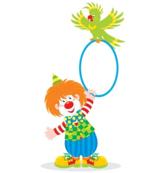 Circus clown and parrot vector
