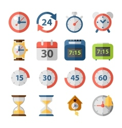 Clock and time flat icon set vector image