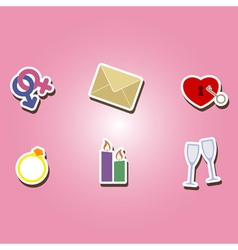 color icons with wedding theme vector image