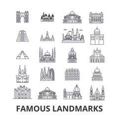 famous landmark sights world place world travel vector image