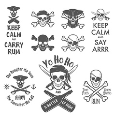 Set of pirate themed design elements vector image vector image