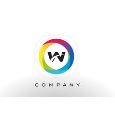 w letter logo with rainbow circle design vector image