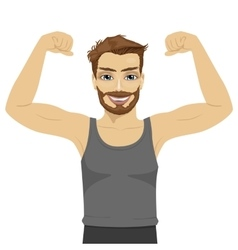 Young man showing his muscles vector image vector image