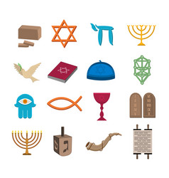 Judaism icons set vector