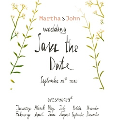 Rustic Save the Date Invitation Card Template with vector image vector image