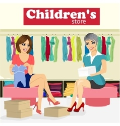 Woman chooses baby clothes in childrens store vector