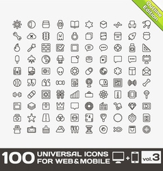 100 Universal Icons For Web and Mobile volume 3 vector image vector image