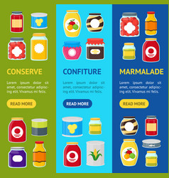 cartoon canned and jar food banner vecrtical set vector image vector image
