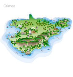 drawing of color crimea tourist map vector image vector image