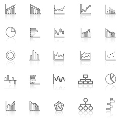 Graph line icons with reflect on white background vector image vector image