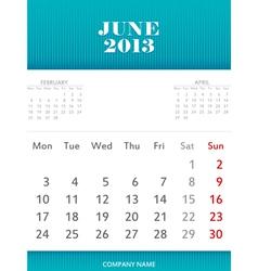 June 2013 calendar design vector image vector image