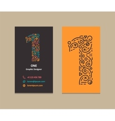 Number 1 Logo Business card vector image vector image