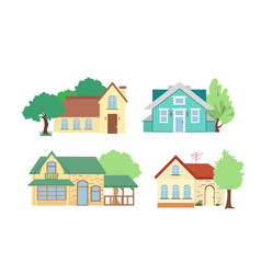 set of cottage houses with vector image