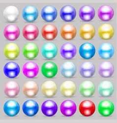 set of pearls of different colors for your design vector image