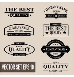 set of vintage quality garanteed labels vector image vector image