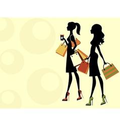 Chic women shopping vector