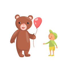 costume bear character with red balloon and cute vector image vector image