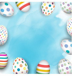 easter eggs on watercolour background vector image vector image