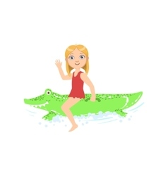 Girl Riding Inflatable Crocodile Toy In The Water vector image vector image