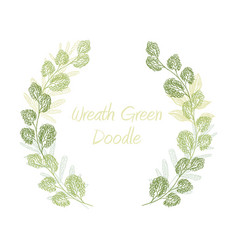 green scribble leaf wreath card template vector image vector image