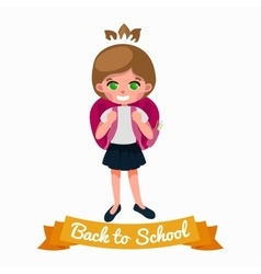 little girl with school backpack and books back vector image