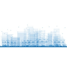 Outline City Skyscrapers vector image
