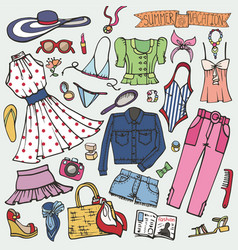 summer fashion setwomangirl colored wear vector image vector image