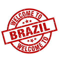 welcome to brazil red stamp vector image