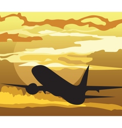 Air plane silhouette in the sky vector