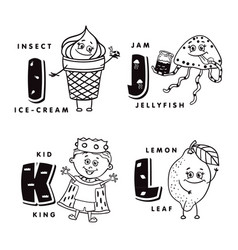 alphabet letter i j k l depicting an ice-cream vector image
