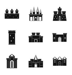 Ancient castles icon set simple style vector