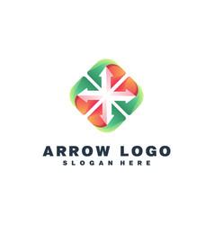 Arrow colorful logo design vector
