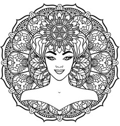 beautiful woman on a mandala background vector image