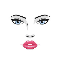 Beautiful young woman face with red lips and blue vector