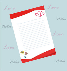 bloc notes love red and white vector image